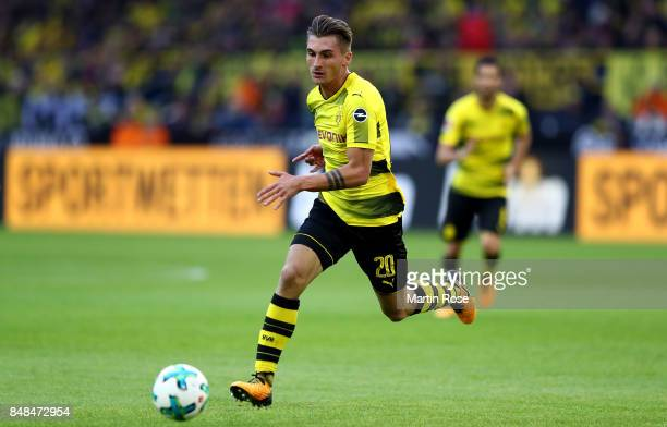 Maximilian Philipp of Dortmund runs with the ball during the Bundesliga match between Borussia Dortmund and 1 FC Koeln at Signal Iduna Park on...