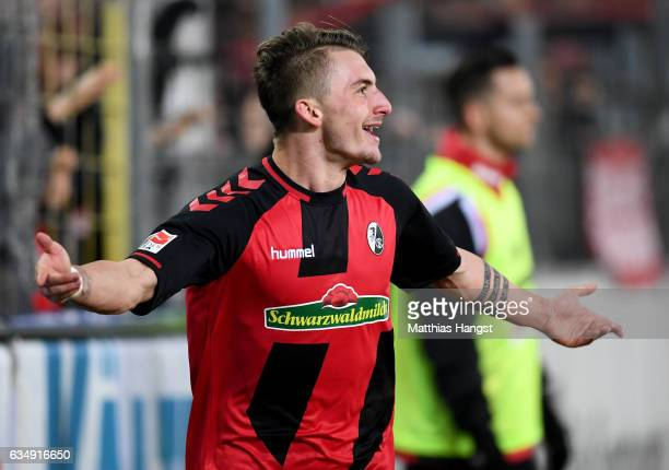 Maximilian Philipp of Freiburg celebrates after scoring his teams second goal during the Bundesliga match between SC Freiburg and 1 FC Koeln at...