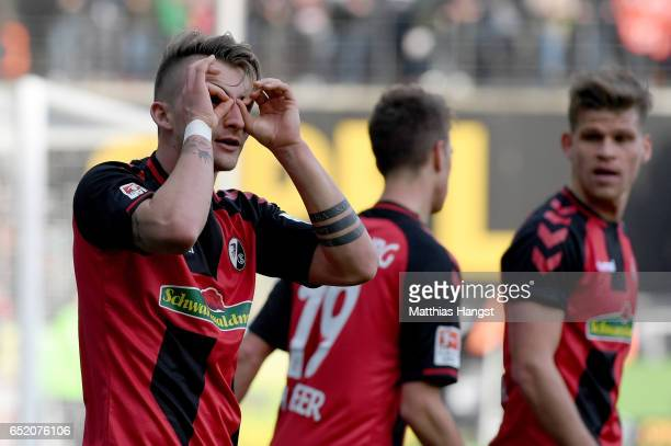 Maximilian Philipp of Freiburg celebrates after scoring his teams first goal during the Bundesliga match between SC Freiburg and TSG 1899 Hoffenheim...