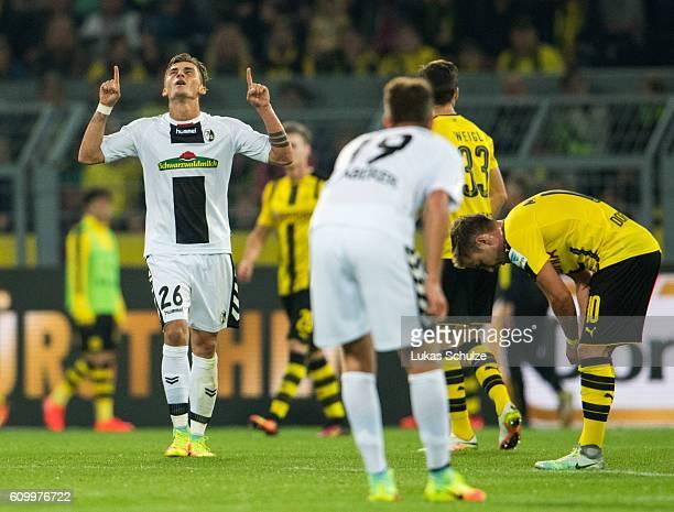 Maximilian Philipp of Freiburg celebrates his first goal during the Bundesliga match between Borussia Dortmund and SC Freiburg at Signal Iduna Park...
