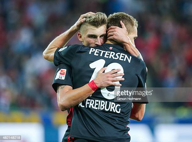Maximilian Philipp of Freiburg celebrates his team's fifth goal with team mate Nils Petersen during the 2 Bundesliga match between SC Freiburg and 1...