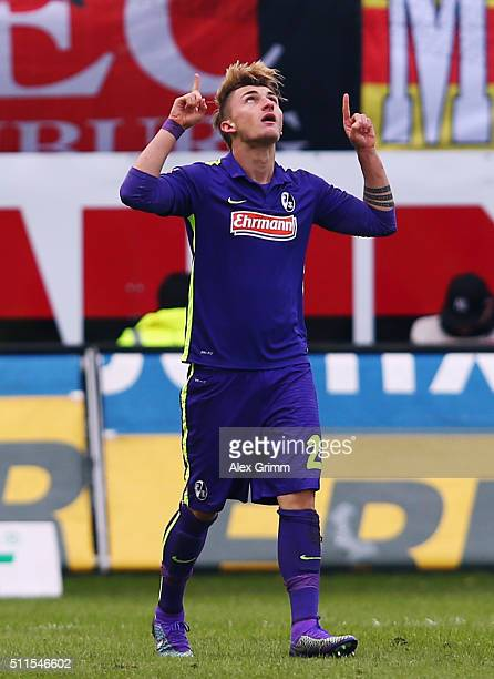 Maximilian Philipp of Freiburg celebrates his team's first goal during the Second Bundesliga match between SV Sandhausen and SC Freiburg at...