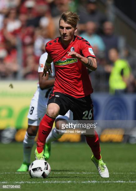 Maximilian Philipp of Freiburg controls the ball during the Bundesliga match between SC Freiburg and FC Ingolstadt 04 at SchwarzwaldStadion on May 13...