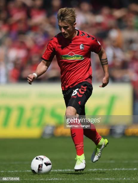 Maximilian Philipp of Freiburg controls the ball during the Bundesliga match between SC Freiburg and FC Ingolstadt 04 at SchwarzwaldStadion on May 13...
