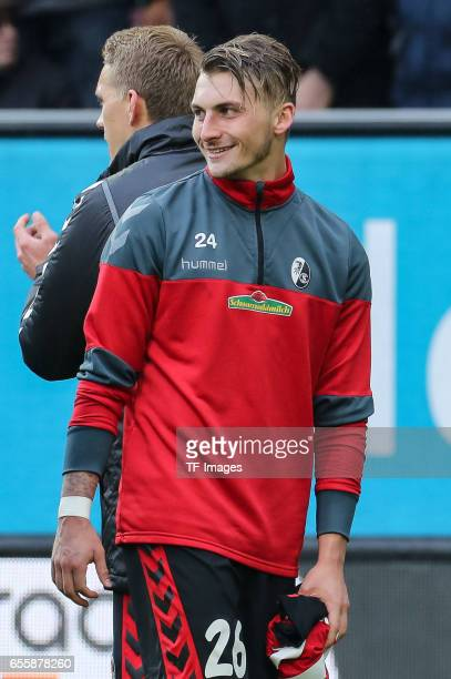Maximilian Philipp of Freiburg laughs during the Bundesliga match between FC Augsburg and SC Freiburg at WWK Arena on March 18 2017 in Augsburg...