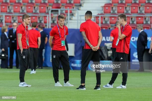 Maximilian Philipp of Germany and Janik Haberer of Germany and Davie Selke of Germany and Lukas Kluenter of Germany looks on during the UEFA U21...