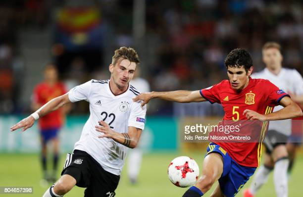 Maximilian Philipp of Germany and Jesús Vallejo of Spain during the UEFA U21 Final match between Germany and Spain at Krakow Stadium on June 30 2017...