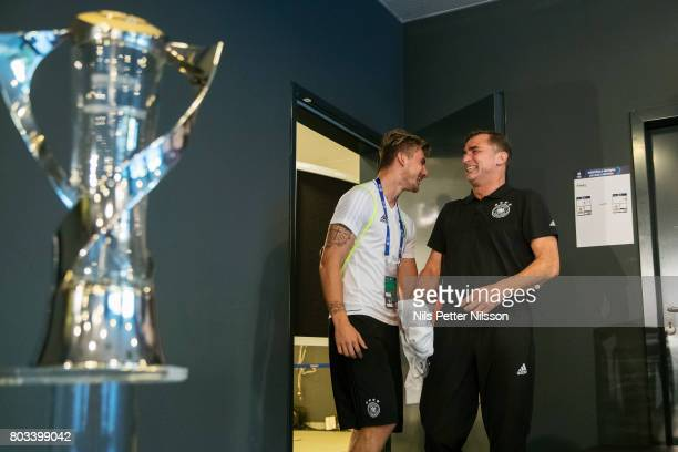 Maximilian Philipp of Germany and Stefan Kuntz head coach of Germany during the Germany U21 national team press conference at Krakow Stadium on June...