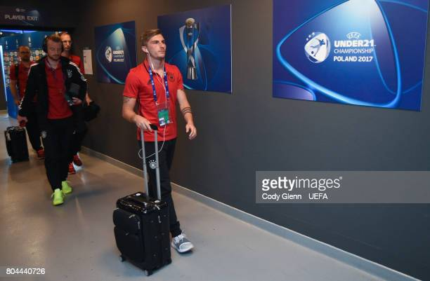 Maximilian Philipp of Germany arrives before their UEFA European Under21 Championship 2017 final match against Spain on June 30 2017 in Krakow Poland