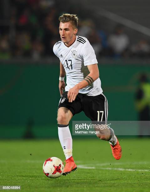 Maximilian Philipp of Germany controls the ball during the U21 International Friendly match between U21 Germany and U21 England at BRITAArena on...