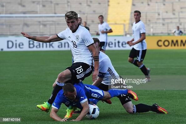 Maximilian Philipp of Germany is challenged by Stanislav Lobotka of Slovakia during the Under21 friendly match between U21 Germany and U21 Slovakia...