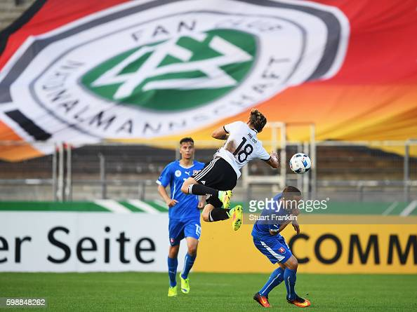 Maximilian Philipp of Germany is challenged during the Under21 friendly match between U21 Germany and U21 Slovakia at Auestadion on September 2 2016...