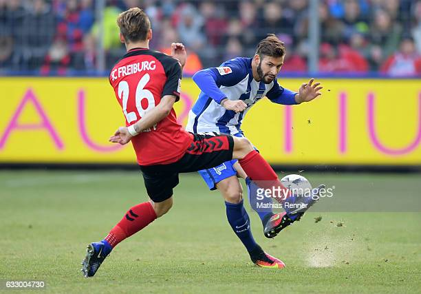 Maximilian Philipp of SC Freiburg and Marvin Plattenhardt of Hertha BSC before the game between SC Freiburg and Hertha BSC on january 29 2017 in...