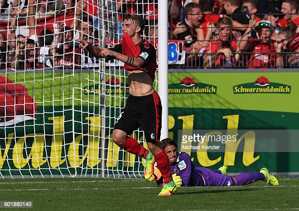 Maximilian Philipp of SC Freiburg celebrates his 2nd goal during the Bundesliga match between Sport Club Freiburg and Borussia Moenchengladbach at...