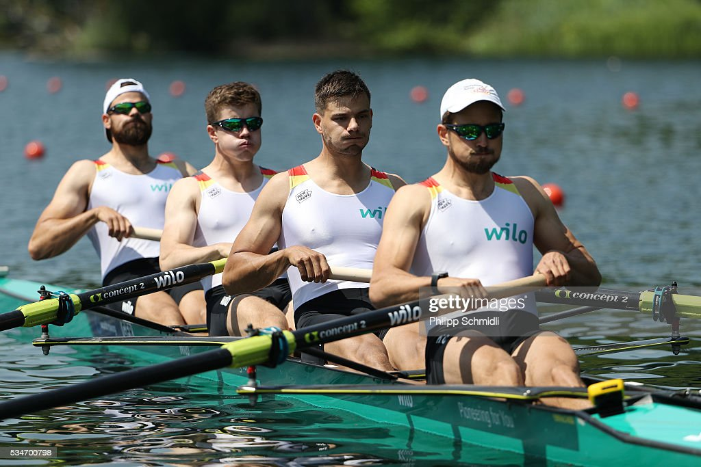 Maximilian Planer, Torben Johannesen, Anton Braun and Felix Wimberger of Germany compete in the Men's Four heats during day 1 of the 2016 World Rowing Cup II at Rotsee on May 27, 2016 in Lucerne, Switzerland.