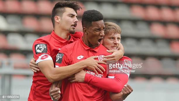 Maximilian Rossmann Charmaine Haeusl Tim Mueller of FSV Mainz 05 II celebrate during the Third League match between 1FSV Mainz 05 II and RW Erfurt at...