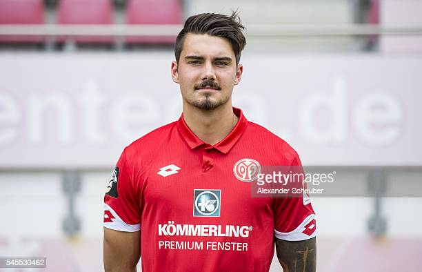 Maximilian Rossmann poses during the 1 FSV Mainz 05 II team presentation at Bruchweg Stadium on July 8 2016 in Mainz Germany