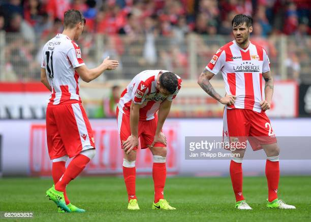 Maximilian Thiel Dennis Daube and Christopher Trimmel of 1 FC Union Berlin after the game between 1st FC Union Berlin and 1st FC Heidenheim on May 14...