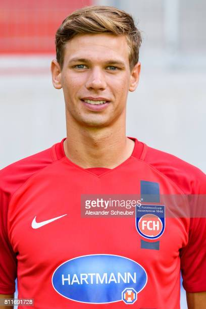 Maximilian Thiel of 1 FC Heidenheim poses during the team presentation at Voith Arena on July 8 2017 in Heidenheim Germany