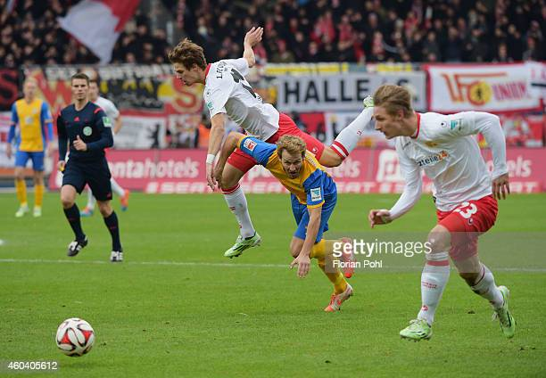 Maximilian Thiel of 1 FC Union Berlin and Marc Pfitzner of Eintracht Braunschweig in action during the game between Eintracht Braunschweig and Union...