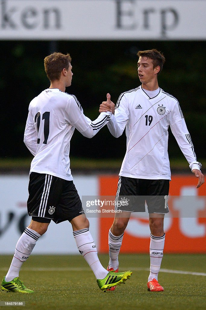 Maximilian Thiel of Germany celebrates after scoring the opening goal with team mate Janik Haberer during the U20 juniors tournament match between the Czech Republic and Germany on October 14, 2013 in Gemert, Netherlands.