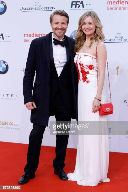 Maximilian von Pufendorf and Stefanie Stappenbeck attend the Lola German Film Award red carpet at Messe Berlin on April 28 2017 in Berlin Germany