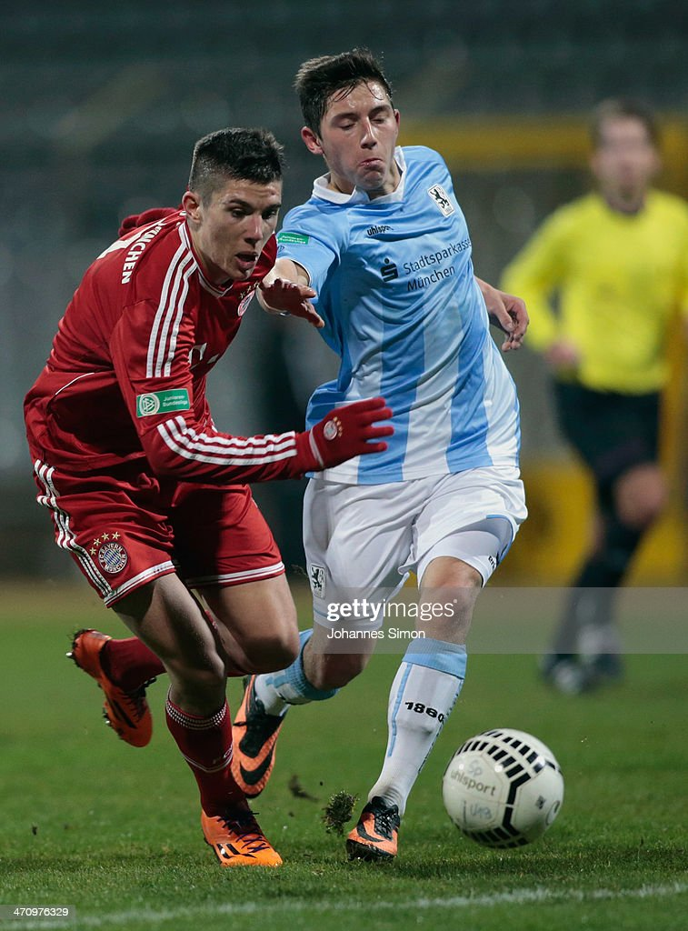 Maximilian Wittek (R) of 1860 Muenchen battles for the ball with Steeven Ribery of FC Bayern during the A Juniors Bundesliga match between 1860 Muenchen and Bayern Muenchen at Stadion an der Gruenwalder Strasse on February 21, 2014 in Munich, Germany.