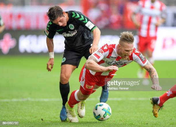 Maximilian Wittek of the SpVgg Greuther Fuerth and Sebastian Polter of 1FC Union Berlin during the game between Union Berlin and the SpVgg Greuther...