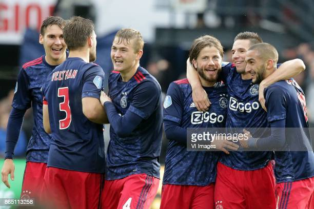 Maximilian Wober of Ajax Joel Veltman of Ajax Matthijs de Ligt of Ajax Lasse Schone of Ajax Nick Viergever of Ajax Hakim Ziyech of Ajax during the...