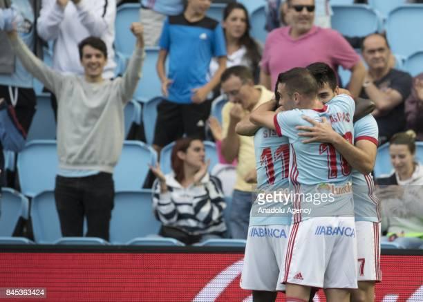 Maximiliano Gomez Gonzalez of Celta de Vigo celebrates after scoring a goal during the La Liga match between RC Celta de Vigo and Deportivo Alaves at...