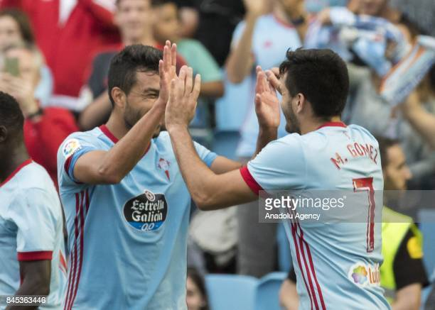 Maximiliano Gomez Gonzalez of Celta de Vigo celebrates with Gustavo Cabral after scoring a goal during the La Liga match between RC Celta de Vigo and...