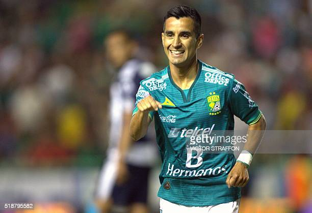 Maximiliano Moralez of Leon celebrates his goal against Monterrey during their Mexican Clausura tournament football match at the Nou Camp stadium in...