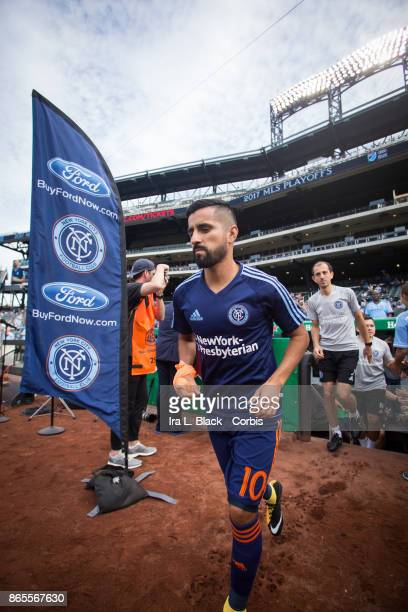 Maximiliano Moralez of New York City FC walks out onto the field for warm ups during the MLS match between New York City FC and Columbus Crew at Citi...