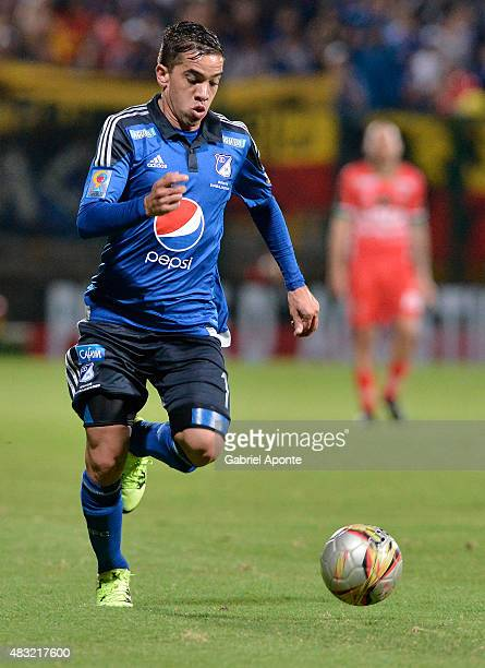 Maximiliano Nu–ñez of Millonarios drives the ball during a match between Patriotas FC and Millonarios as part of Liga Aguila II 2015 at Metropolitano...
