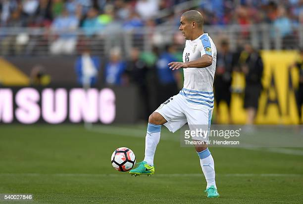 Maximiliano Pereira of Uruguay dribbles the ball against Jamaica during the 2016 Copa America Centenario Group match play between Uruguay and Jamaica...