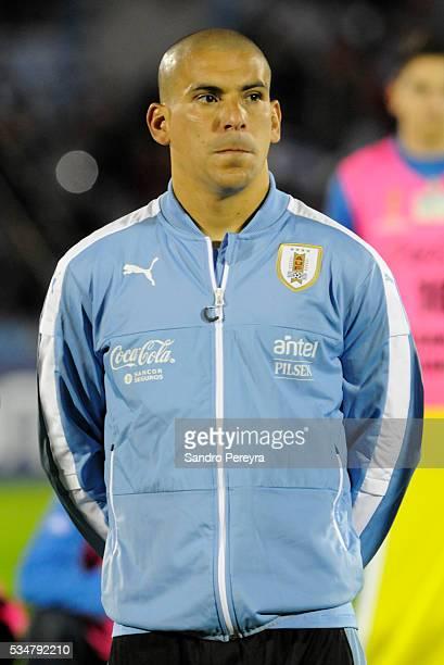 Maximiliano Pereira of Uruguay looks on prior an international friendly match between Uruguay and Trinidad Tobago at Centenario Stadium on May 27...