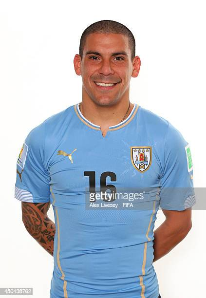 Maximiliano Pereira of Uruguay poses during the official FIFA World Cup 2014 portrait session on June 10 2014 in Belo Horizonte Brazil