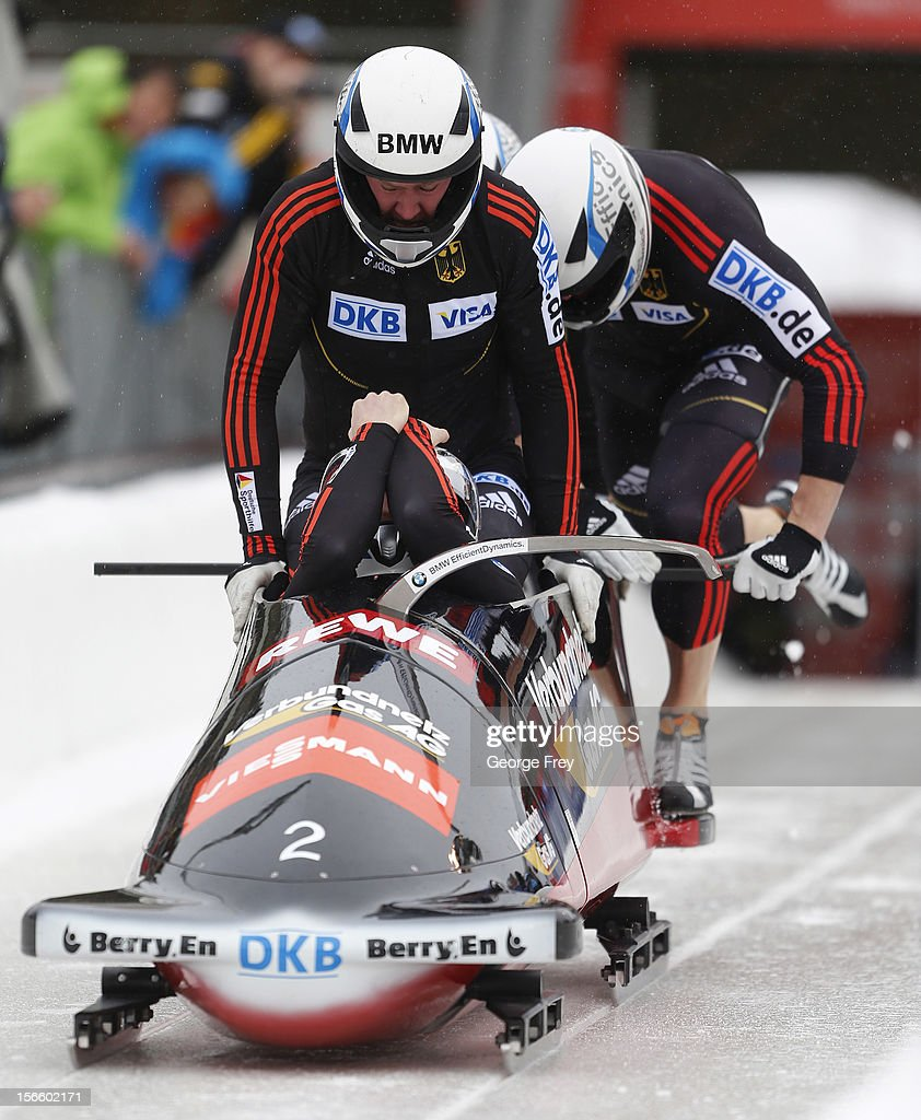 Maximillan Arndt drives German 2 sled to a fourth place finish in the FIBT Men's Four Man Bobsled World Cup Heat 1 at Utah Olympic Park on November 17, 2012 in Park City, Utah.
