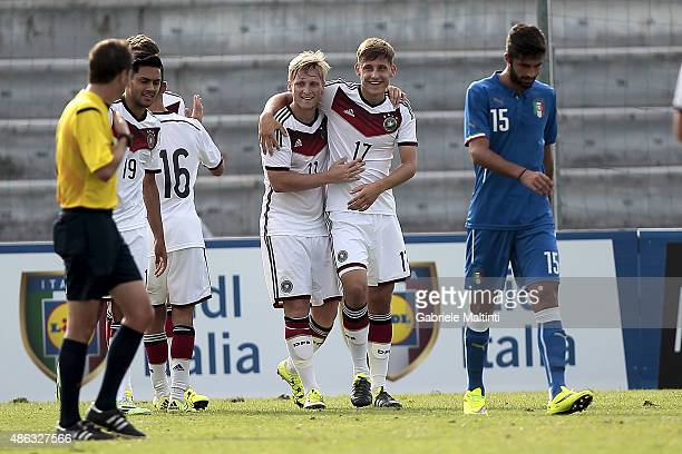 Maximillian Eggestein and Marvin Stefaniak of Germany U20 celebrate after scoring a goal during the match between Italy U20 and Germany U20 at Stadio...
