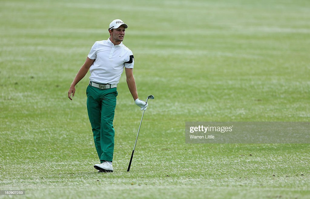 Maximillian Kieffer of Germany reacts to his second shot into the 18th green during the second round of the Tshwane Open at Copperleaf Golf & Country Estate on March 1, 2013 in Centurion, South Africa.