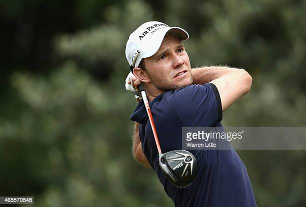 Maximillian Kieffer of Germany tees off on the first hole during the final round of the Africa Open at East London Golf Club on March 8 2015 in East...