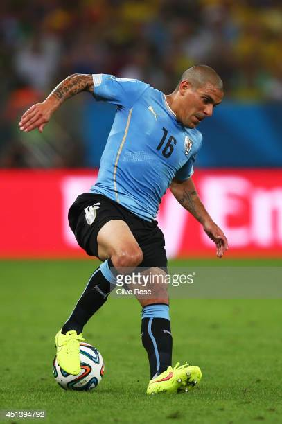 Maximilliano Pereira of Uruguay controls the ball during the 2014 FIFA World Cup Brazil round of 16 match between Colombia and Uruguay at Maracana on...