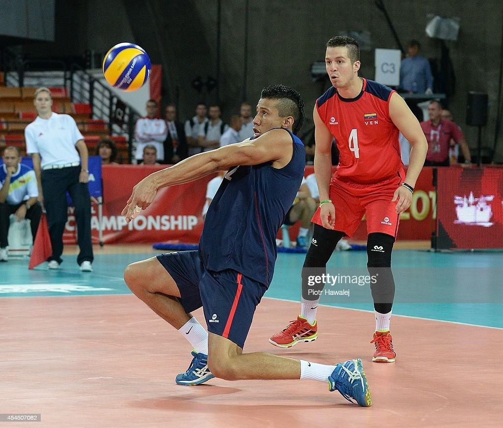 Maximo Montoya Martine of Venezuela receives the ball during the FIVB World Championships match between Venezuela and Cameroon on September 2, 2014 in Wroclaw, Poland.