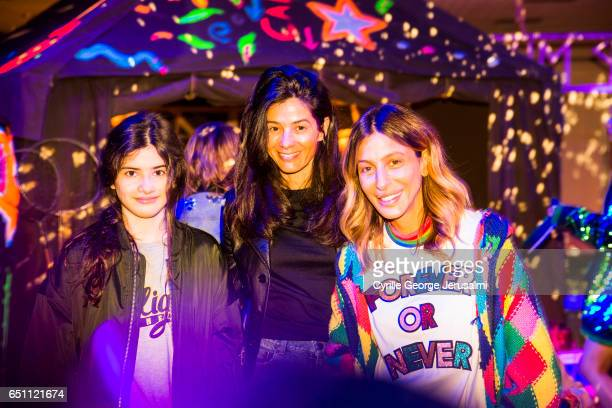 Maxine Detrumont Barbara Martelo and Mira Mikati attend the Mira Mikati AW17 Presentation on March 3 2017 in Paris France