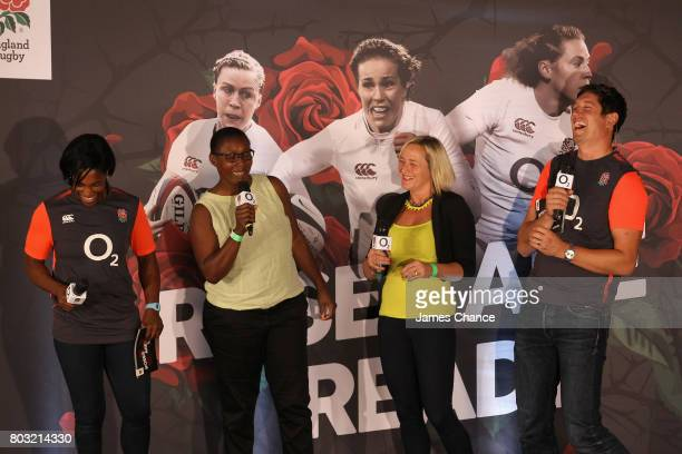 Maxine Edwards former England Women's Rugby player tells a joke to Maggie Alphonsi former England Women's Rugby player Vicky McQueen former England...