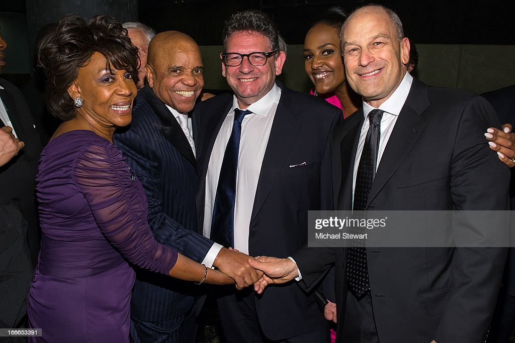 <a gi-track='captionPersonalityLinkClicked' href=/galleries/search?phrase=Maxine+Waters&family=editorial&specificpeople=220525 ng-click='$event.stopPropagation()'>Maxine Waters</a>, Barry Gordy Jr., Universal Music Group Chairman & CEO <a gi-track='captionPersonalityLinkClicked' href=/galleries/search?phrase=Lucian+Grainge&family=editorial&specificpeople=813742 ng-click='$event.stopPropagation()'>Lucian Grainge</a>, Head of Motown Ethiopia Habtemariam and Univeral Media Group East Coast Label Chairman & CEO Barry Weiss attend the after party for the Broadway opening night for 'Motown: The Musical' at Roseland Ballroom on April 14, 2013 in New York City.