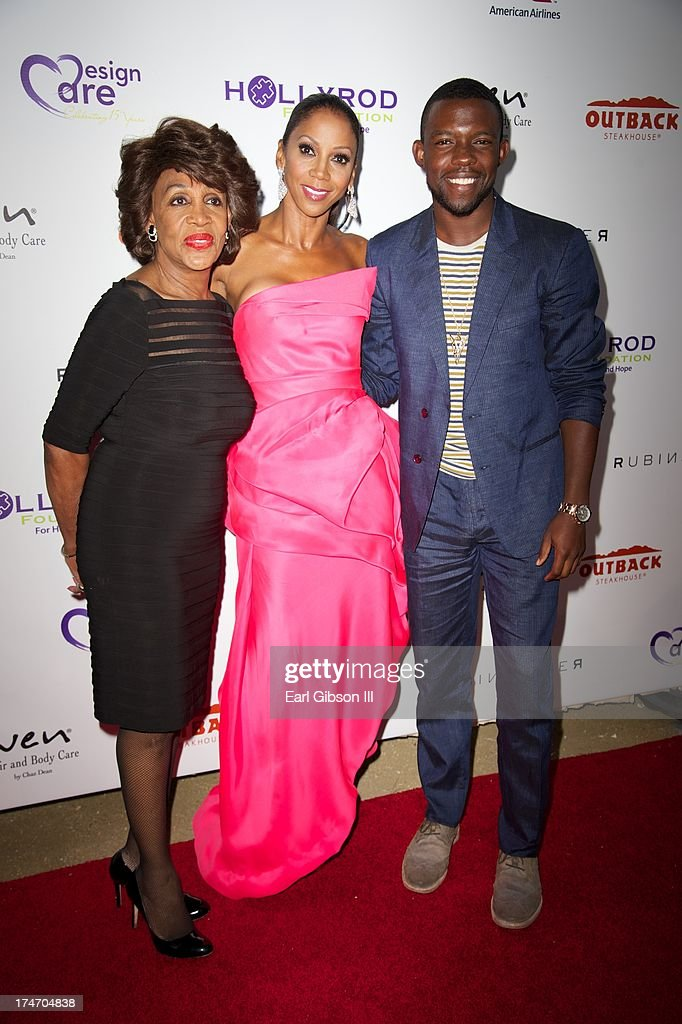 <a gi-track='captionPersonalityLinkClicked' href=/galleries/search?phrase=Maxine+Waters&family=editorial&specificpeople=220525 ng-click='$event.stopPropagation()'>Maxine Waters</a>, <a gi-track='captionPersonalityLinkClicked' href=/galleries/search?phrase=Holly+Robinson+Peete&family=editorial&specificpeople=213716 ng-click='$event.stopPropagation()'>Holly Robinson Peete</a> and Camaron Titus attend the 15th Annaul DesignCare on July 27, 2013 in Malibu, California.