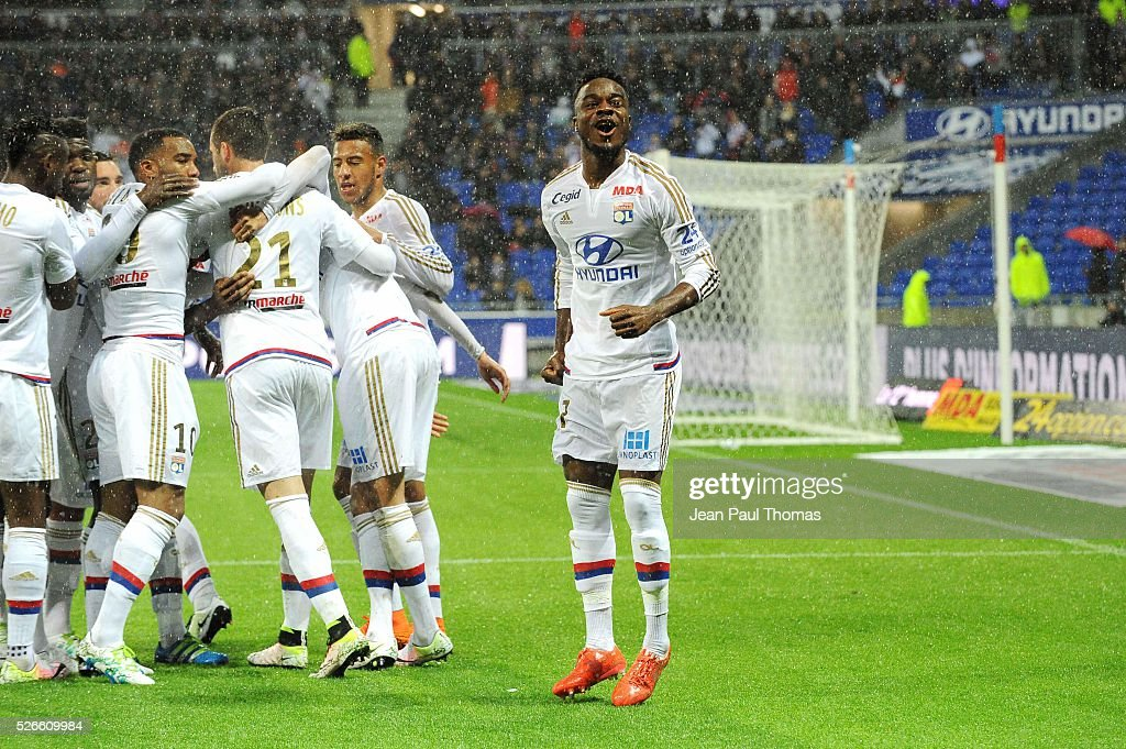 Maxwel Cornet of Lyon celebrates his scoring goal with teammates during the French Ligue 1 match between Olympique Lyonnais and Gazelec GFC Ajaccio at Stade des Lumieres on April 30, 2016 in Lyon, France.