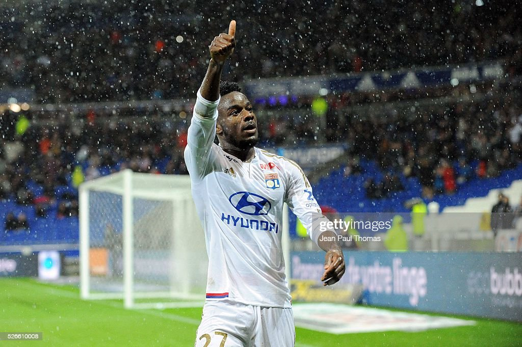 Maxwel CORNET of lyon celebrates scoring his goal during the French Ligue 1 match between Olympique Lyonnais and Gazelec GFC Ajaccio at Stade des Lumieres on April 30, 2016 in Lyon, France.