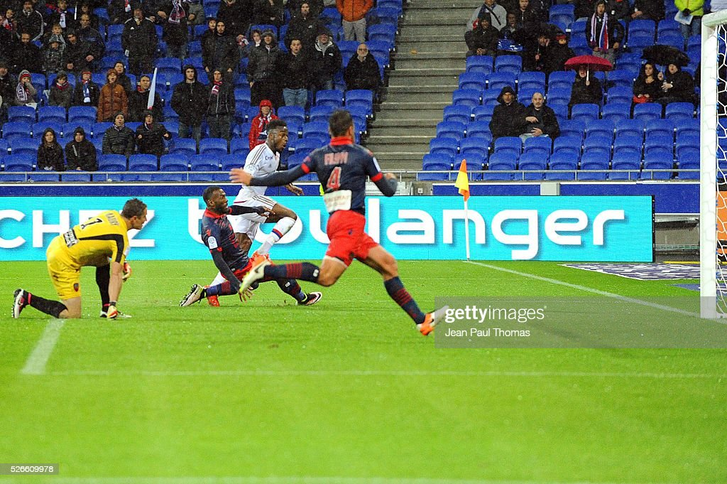 Maxwel Cornet of Lyon scores during the French Ligue 1 match between Olympique Lyonnais and Gazelec GFC Ajaccio at Stade des Lumieres on April 30, 2016 in Lyon, France.